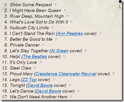 tINATURNER SET LIST